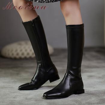 Meotina prawdziwe skórzane buty na niskim obcasie buty jeździeckie buty do kolan damskie buty kwadratowe Toe Zip masywne obcasy kozaki damskie brązowe 40 tanie i dobre opinie Prawdziwej skóry Skóra bydlęca Podkolanówki Szycia Stałe 20200814-01 Boots Dla dorosłych Plac heel Jazda Jeździectwo