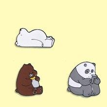 Épingle en émail pour sac à dos, motif Panda polaire, mignon, Animal, Badge, pour vêtements, bijoux Kawaii, cadeau pour amis