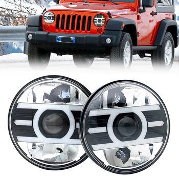 """2pcs 7 Inch LED Headlight H4 Hi Low for Jeep Wrangler Unlimited JK 7"""" DRL Angle Eyes led Projector headlamp"""
