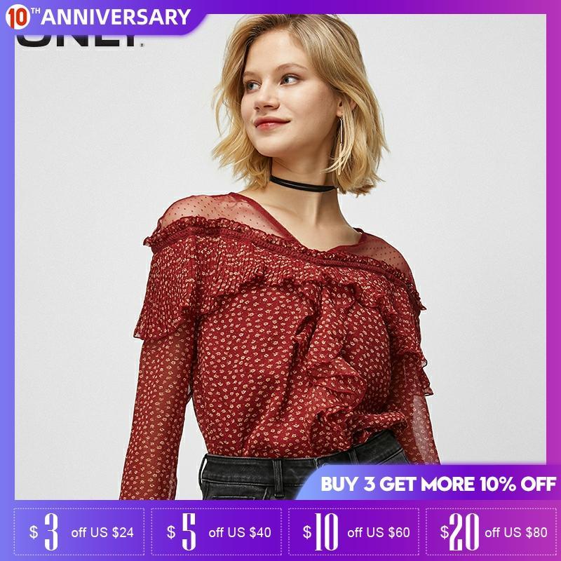 ONLY Women's V-neckline Lace Splice Ruffled Flared Sleeves Chiffon Shirt | 119358518