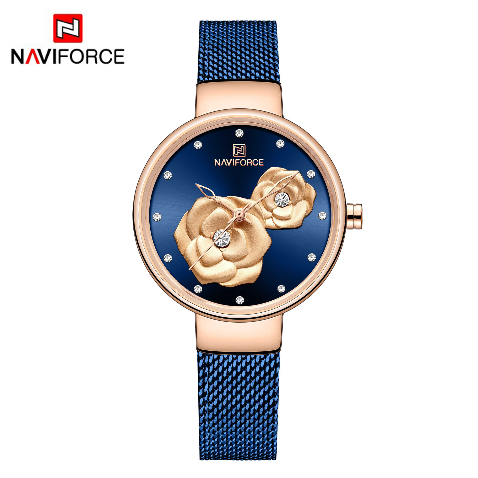 NAVIFORCE frauen Armbanduhren Luxus Kristall Stilvolle Doppel Blume Zifferblatt Damen Armband Quarzuhr Mode Armbanduhr 2019