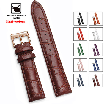 Genuine Leather Watchbands 12/14/16/18/20/22/24 mm Watch Steel Pin buckle Band Strap High Quality Wrist Belt Bracelet + Tool