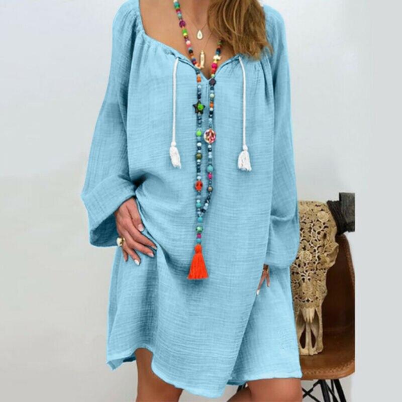 New Women's Summer Boho Short Mini Dress Ladies Casual Beachwear Bikini Cover Up Swimwear Solid Loose Sundress