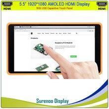 """5.5 """"بوصة 1920*1080 AMOLED OLED HDMI LCD وحدة شاشة عرض Minitor مع USB بالسعة لوحة اللمس ل التوت بي/ويندوز"""