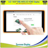 5.5 inch 1920*1080 AMOLED OLED HDMI TFT LCD Module Screen Display Minitor USB Capacitive Touch Panel for Raspberry Pi / Windows