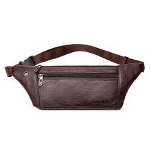 Men Bum Waist Phone Pouch Fanny Pack Crossbody PU Leather Belt Shoulder Sport Zipper Bag striped design zipper front bum bag