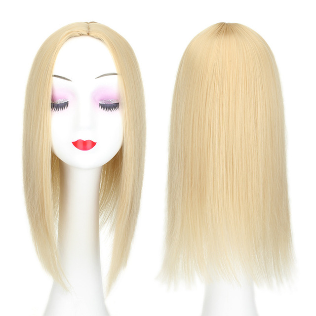 Women Hair Topper Piece Synthetic Hair 3 Clips In one piece Hair Extension long straight High Temperature Fiber 2