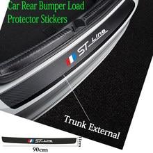 90*11cm carro traseiro pára-choques filme adesivos de couro tronco placa proteção guarnição para ford focus stline decoração do carro acessórios