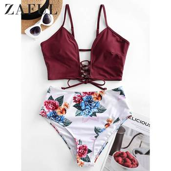 ZAFUL Lace-up Floral Leaf High Waisted Tankini Swimsuit Woman Padded Wire Free Spaghetti Straps Sexy Bathing Suit Beach Suit цена 2017