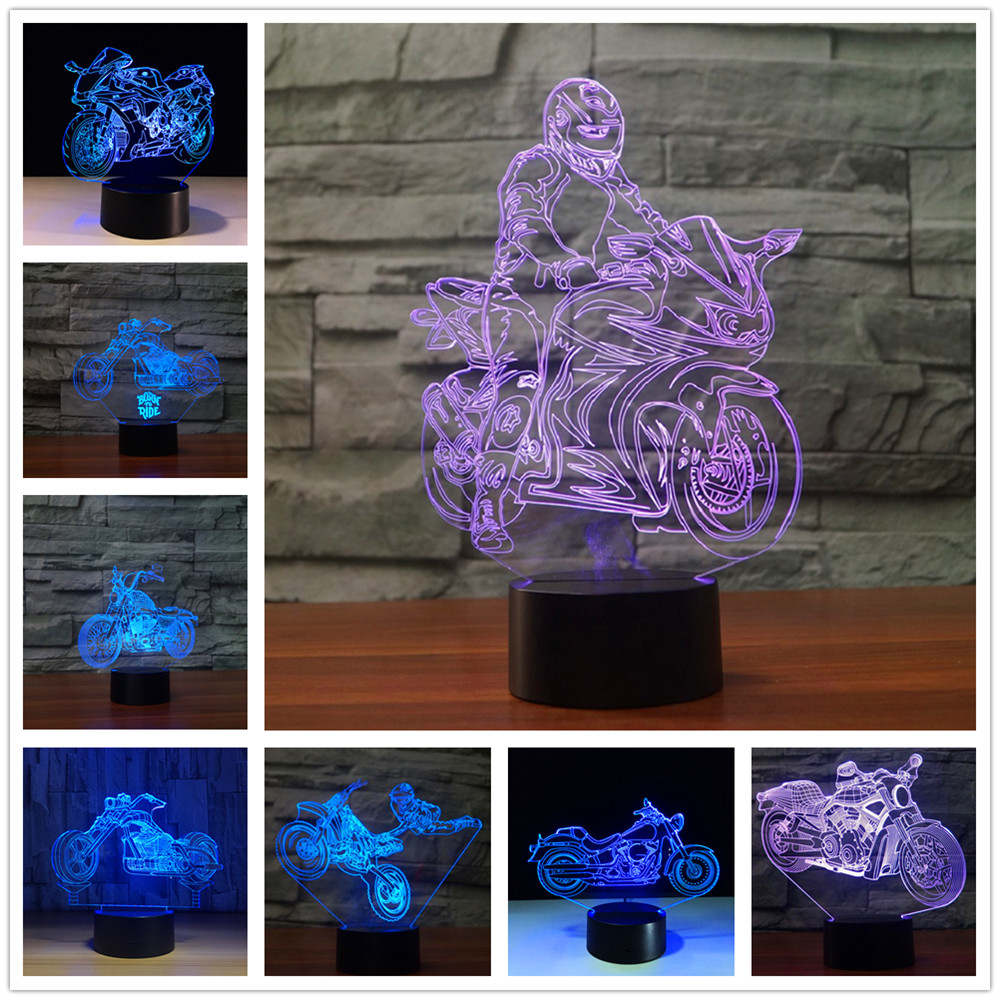 3D Lamp Motorcycle Rider 3d Fast & Furious 8 Novelty Motorcycle Table Lamp Night Lights Led Lampara Nightlight RGB Change
