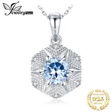 JewelryPalace Natural Blue Topaz Pendant Necklace 925 Sterling Silver Gemstones Choker Statement Necklace Women Without Chain jewelrypalace luxury pear cut 7 4ct created emerald solid 925 sterling silver pendant necklace 45cm chain for women 2018 hot