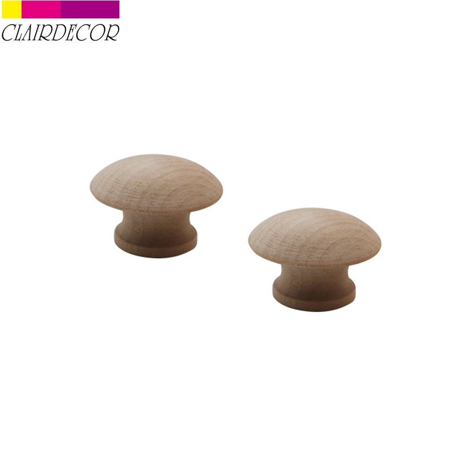 2 pcs 46mm Knobs Natural Wooden Cabinet Drawer Wardrobe Door Pull Kitchen Handle Furniture Hardware Crude wood