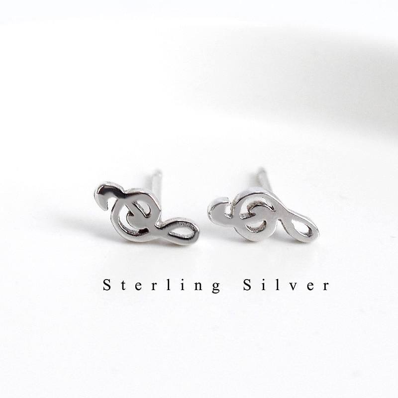 La Monada Stud Earrings For Women Silver 925 Music Note Minimalist Fine Women Earrings Jewelry Stud Earrings 925 Sterling Silver