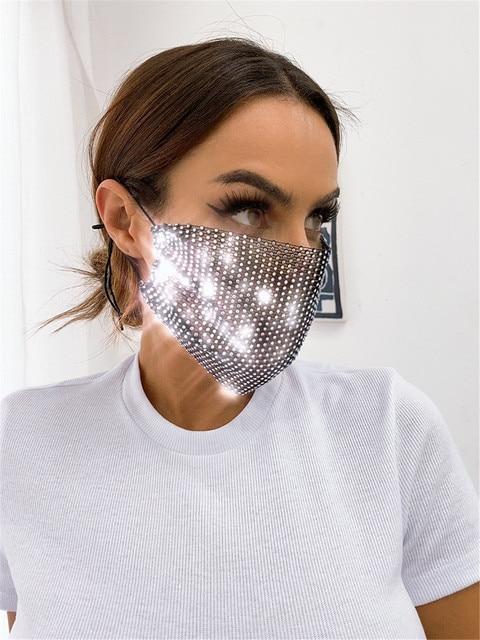 2020 Rhinestone Grid Masks Rhinestone Accessories Masks Makeup Party Fashion Masks Chic Ball Mask  Kpop Mask  Blackpink Kpop 1