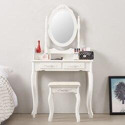 Panana 4 Lade Kaptafel Set Kaptafel Met Cushioned Kruk Slaapkamer Make-Up Tafel Zwart