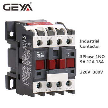 цена на GEYA CJX2 AC Contactor 9A 12A 18A Industrial Contactor Coil Voltage 380V 220V 50/60Hz Din Rail Mounted 3P+1NO Normal Open