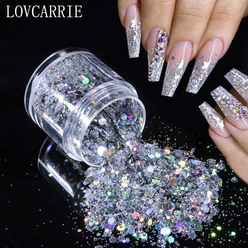 Brilho holográfico para unhas, pó de glitter dourado para unhas, arte nas unhas, pigmento em flocos, lantejoulas, pontas para decoração de unhas em gel, 1 caixa