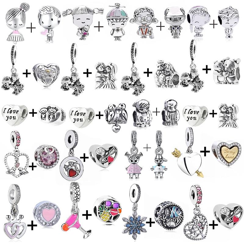2Pcs/Lot Romantic Couple Family Bride & Groom Charms Beads Fit Original Bracelet Necklaces DIY For Women Weddding Jewelry Making
