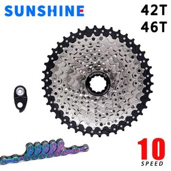 Sol 10-velocidad cassette desviador de bicicleta de montaña + SUMC 12-velocidad cadena Shimano engranajes mtb partes bicicleta piñón 11-42T 46T enw