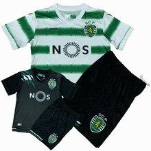 Crianças conjuntos de uniformes esportivos meninos e meninas esportes sporting lisboa crianças camisas + shorts ternos treinamento em branco conjunto personalizado