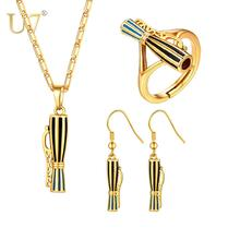 цена на U7 Papua New Guinea Drum with Stripes Pendant Necklaces Earrings Ring Traditional PNG Style Kundu Jewelry sets Women Gifts S1027