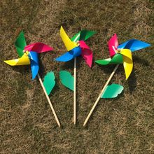 2 2 Pcs/Set Wind Spinner Simple Four Colors Windmill Pinwheel Wooden Pole Garden Decoration Kids Children Toys Wheel 28cm Home