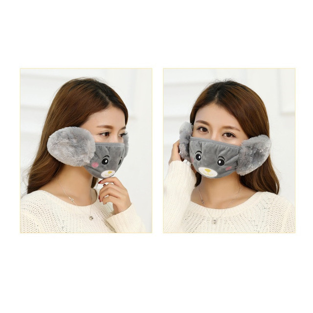 Mother Kids Cute Bear Ear Protective Face Mask Windproof Mouth-muffle Anti Dust Masks Children Anti Haze Flu Cotton Moiuth Masks 4
