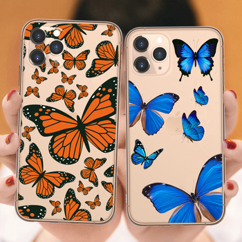 Para iPhones 11 Pro MAX 2019 Color mariposa lindo funda suave de dibujos animados para iPhone 6 6S 7 7 Plus X XR XS Max Flexible de silicona