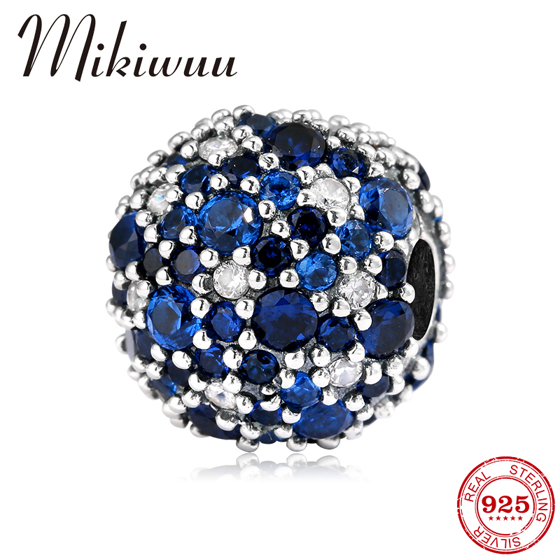 2018 NEW 925 Sterling Silver Fashion Women Blue Colorful Clip Charm Beads Fit Original Pandora Charm Bracelet Jewelry Making