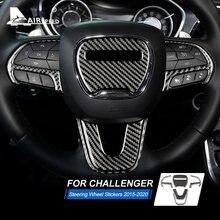 Velocidade do ar fibra de carbono para dodge challenger 2015 2016 2017 2018 2019 acessórios interior do carro volante capa guarnição adesivo