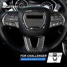 FLUGGESCHWINDIGKEIT Carbon Faser für Dodge Challenger 2015 2016 2017 2018 2019 Zubehör Innen Auto Lenkrad Abdeckung Trim Aufkleber