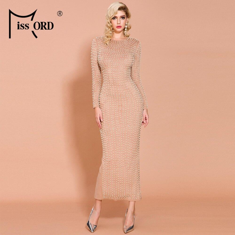 Missord 2020 Women O Neck Long Sleeve Beads Suede Dresses Female Elegant Split Maxi Dress   FT19832
