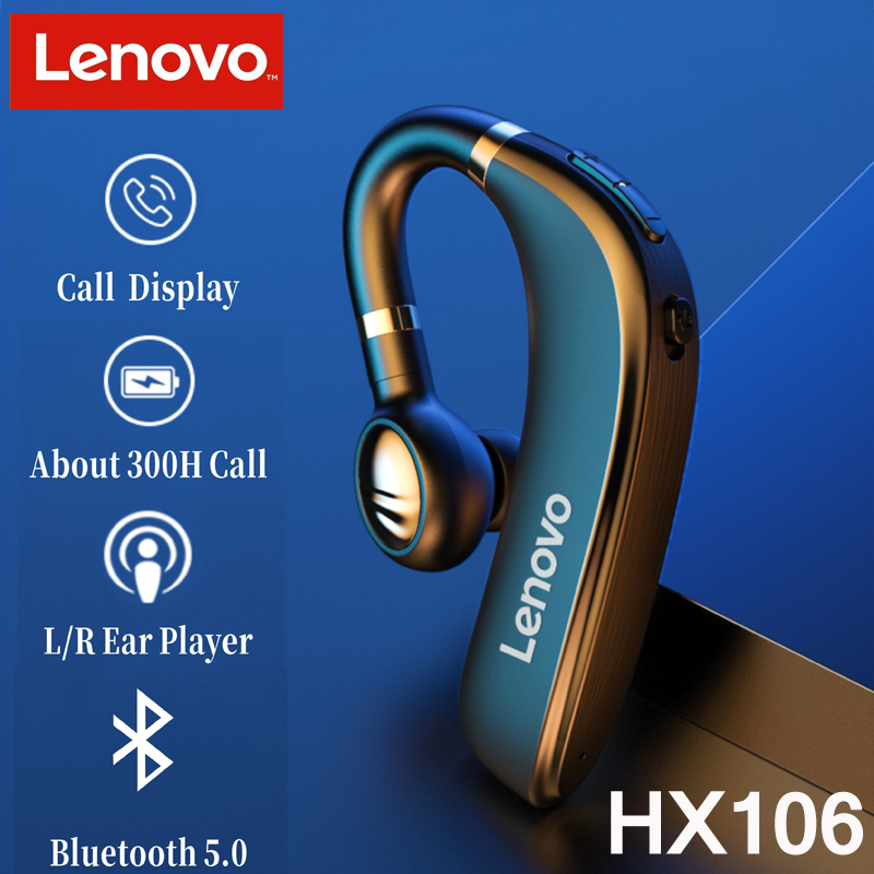 Original Lenovo HX106 Bluetooth Earphone Pro Ear Hook Wireless Bluetooth 5.0 Earbud With Microphone 40 Hours For Driving Meeting