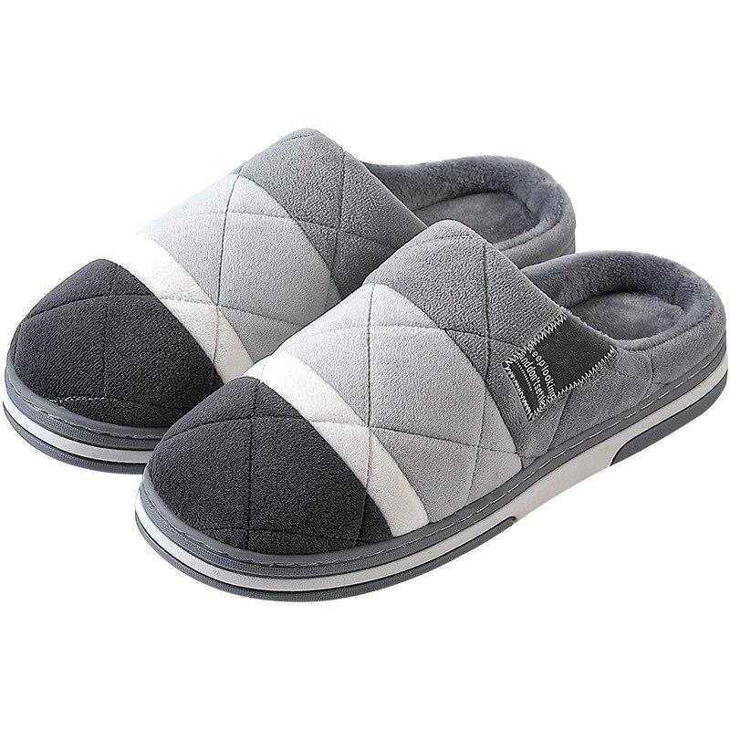 Home Slippers For Men Winter Man Shoes Schoenen Mannen Buty Meskie Sloffen Pantoffels Short Plush Chausson Fur Slippers Lovers