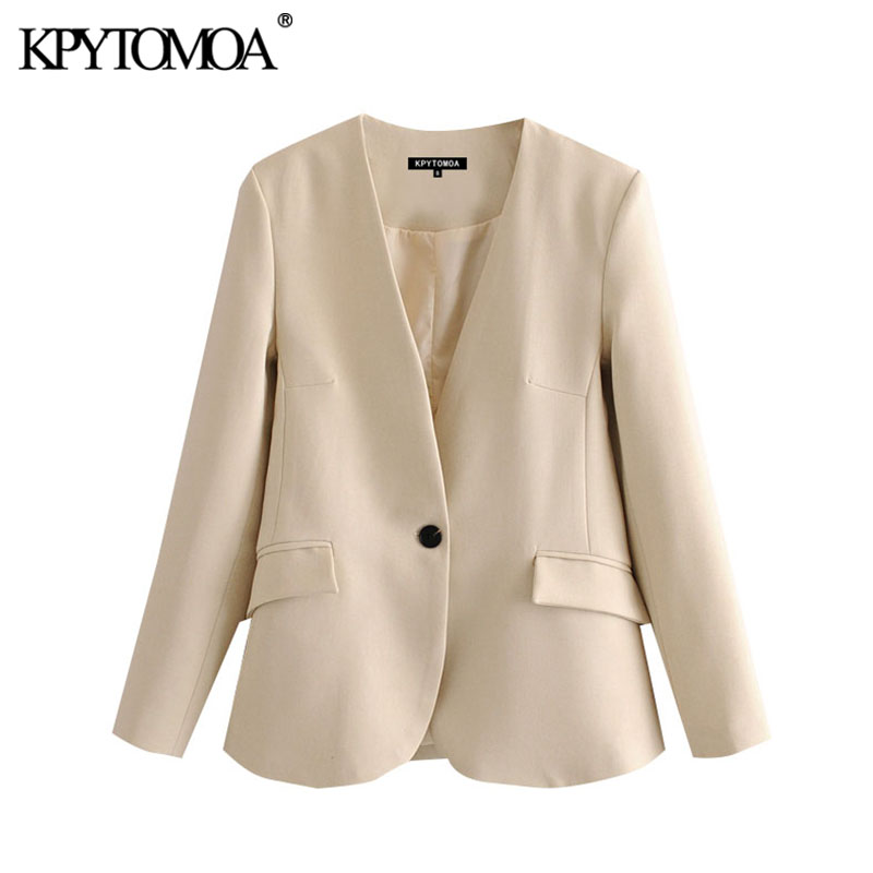 KPYTOMOA Women 2020 Fashion Office Wear Single Button Blazer Coat Vintage V Neck Long Sleeve Pockets Female Outerwear Chic Tops