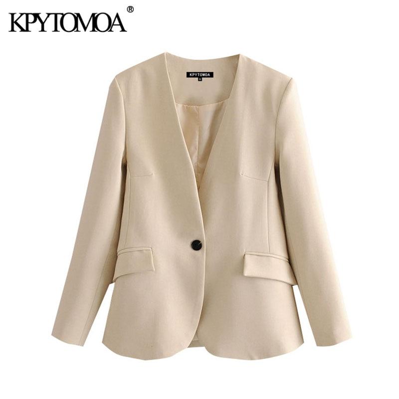 KPYTOMOA Women 2020 Fashion Office Wear Single Button Blazer Coat Vintage V Neck Long Sleeve Pockets Female Outerwear Chic Tops