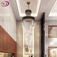 Youlaike modern staircase chandelier lighting long staircase crystal light fixtures luxury hallway black cristal hanging lamps
