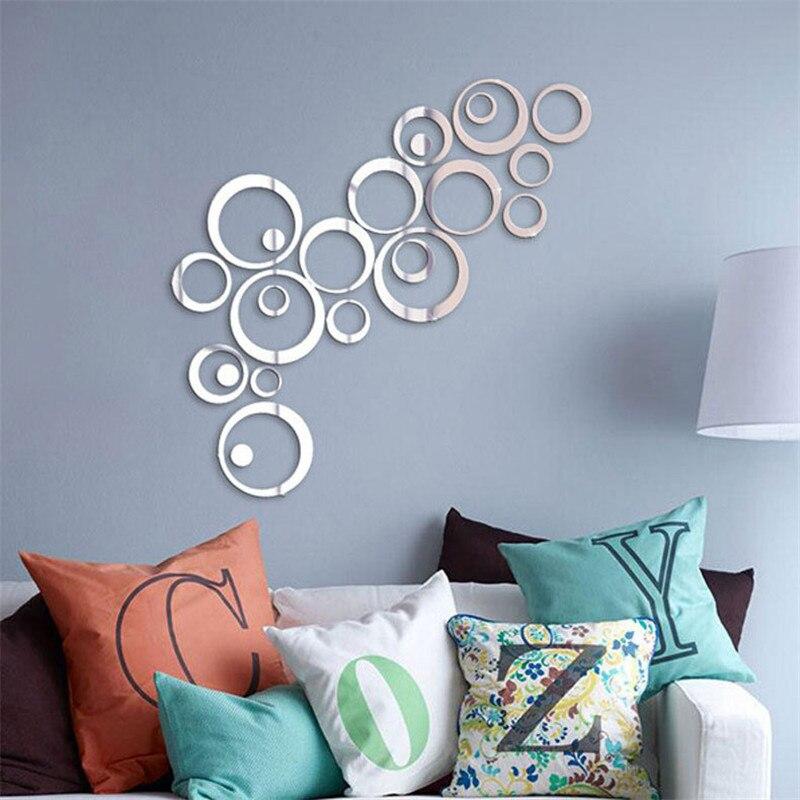 Винтажный узор круг 3D трехмерные акриловые наклейки на стену фон для украшения дома зеркальные наклейки настенные наклейки Наклейки на стену      АлиЭкспресс