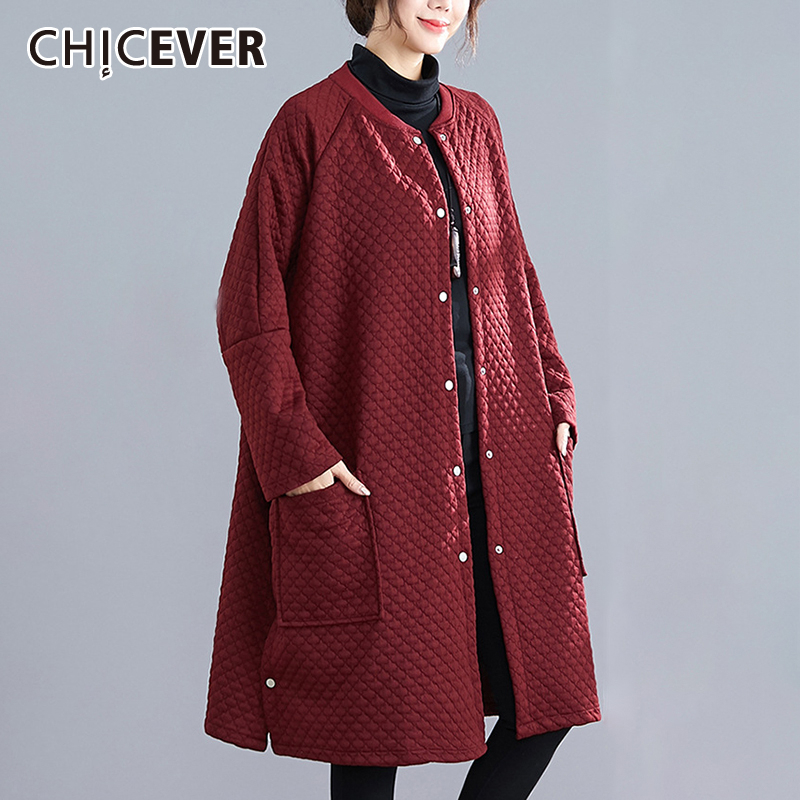 CHICEVER Vintage Plaid Women Trenches O Neck Long Sleeve Pocket Oversize Loose Warm Coats Female Spring Fashion New Clothes 2020