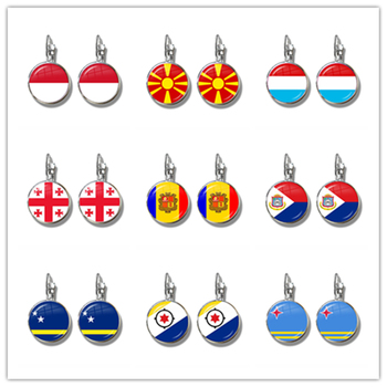 MCO,Macedonian, Luxembourg, Georgia, Andorra, Eilandgebied Sint Maarten,Curacao,Bonaire, Aruba Nation Flag French Hook Earrings image
