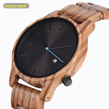 DODO DEER Mens Wood Watches Retro Ebony Clock Male Unique Wooden Adjustable Band Quartz Wristwatch Relogio Masculino B09