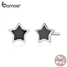 bamoer Silver 925 Jewelry Simple Minimalist Star Stud Earrings for Girl Anti-allergy Enamel Jewelry Accessories Gifts BSE275 все цены