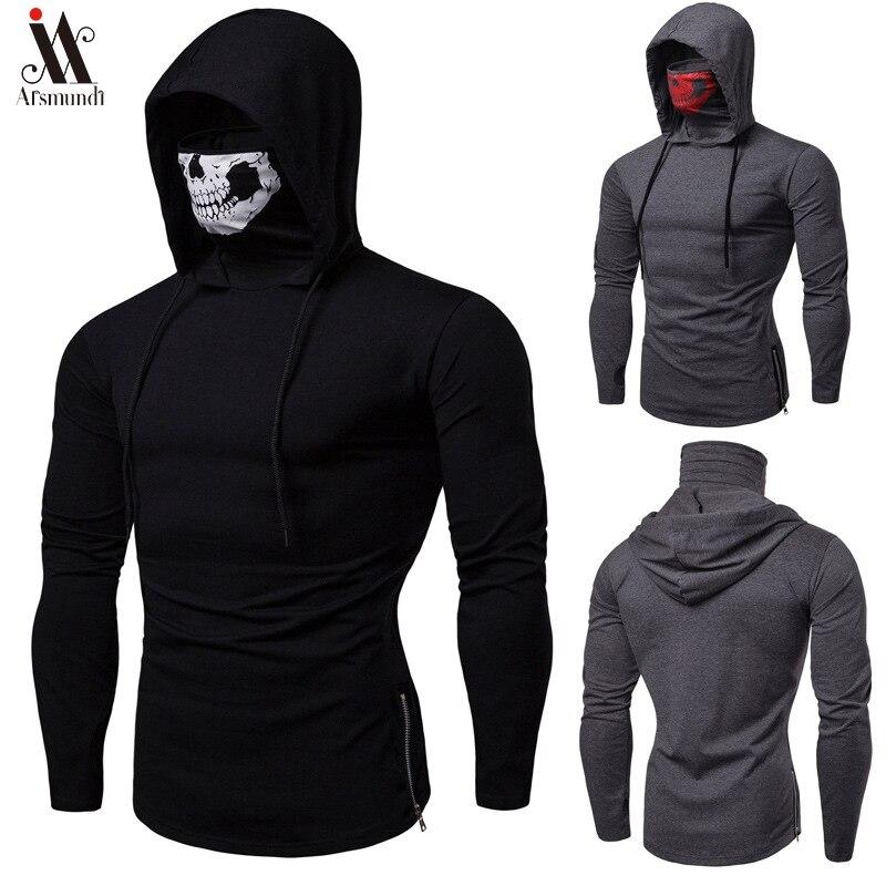 2019 Long Sleeve Fitness Hoodies Men Autumn Thin Sweatshirt Male Sporting Slim Fit Streetwear Solid Pullover Street Hoodie White