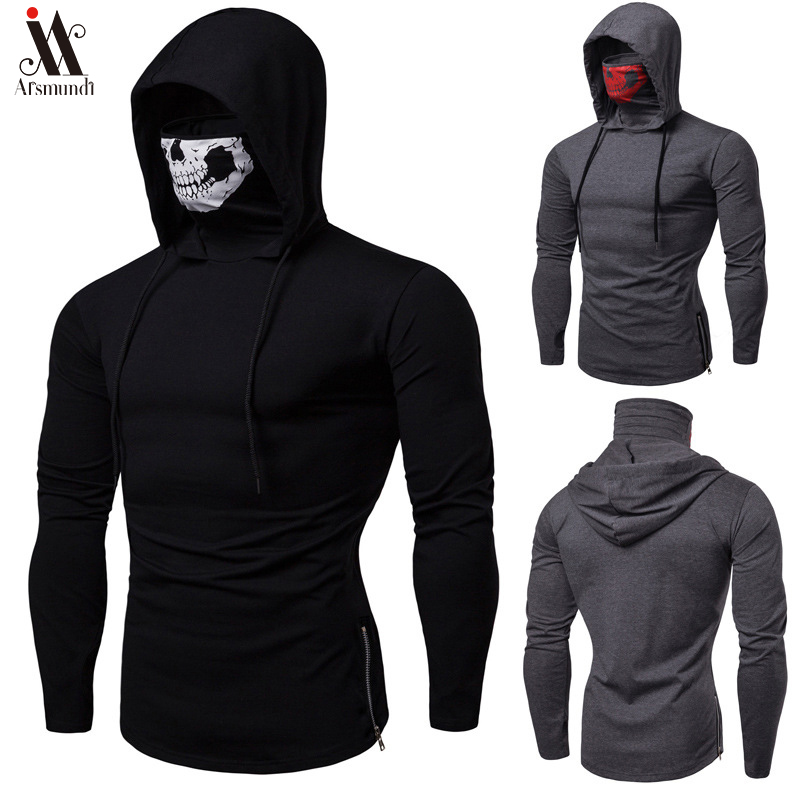 2020 Long Sleeve Fitness Hoodies Men Autumn Thin Sweatshirt Male Sporting Slim Fit Streetwear Solid Pullover Street Hoodie White