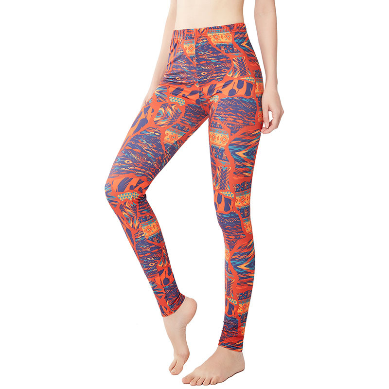 9068 Separate Station Retro Feather Geometry Joint Print Yoga Pants WOMEN'S Leggings