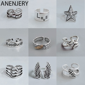 ANENJERY Fashion Retro Handmade Rings For Women Men Adjustable Thai Silver Color Rings Wholesale