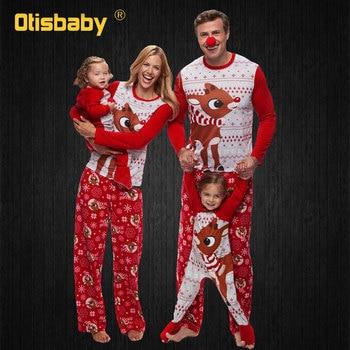 Christmas Family Matching Pajamas Set Xmas Elk Baby Romper Dad Son Mom Daughter Sleepwear Nightwear Sisters Matching Outfits