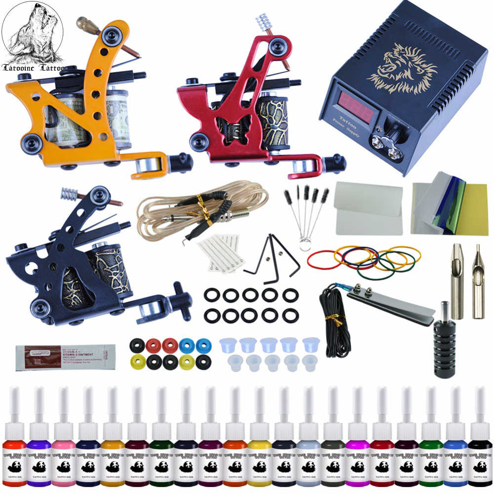 Compleet Tattoo Kit 2 Tattoo Machines Gun Zwarte Inkt Set Voeding Grips Body Art Gereedschap Set Tattoo Permanente Make-Up tattoo set