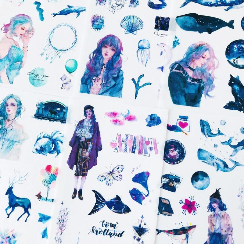 6 Sheets Dream Starry Sky World Stickers Decorative Album Hand Account Decoration