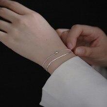 Bilandi Trendy Jewelry Chain Bracelet Popular Style Simple High Quality Crystal Silvery Plating Metal Bracelet For Girl Gift